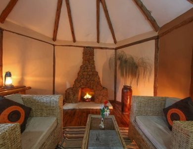 Gorilla Safari Lodge - Fire inside one of the rooms